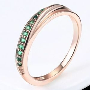Pave 18k Rose Gold Plated & Emerald Zircon Ring